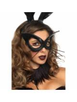 Bunny eye mask with whiskers black O/S